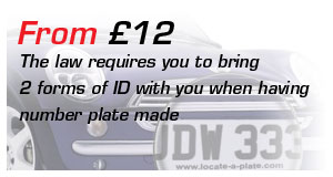 Number plates from £12: The law requires you to bring